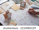 designer sketching drawing... | Shutterstock . vector #1214083129