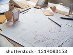 designer sketching drawing... | Shutterstock . vector #1214083153