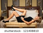 elegant fashionable woman with... | Shutterstock . vector #121408810
