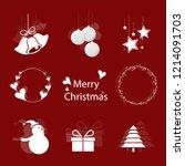 set christmas vector white and... | Shutterstock .eps vector #1214091703