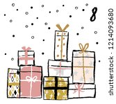 christmas advent calendar with... | Shutterstock .eps vector #1214093680