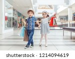 group portrait of two cute... | Shutterstock . vector #1214094619