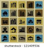 vector black hous icons set on... | Shutterstock .eps vector #121409536