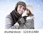 girl whispering a secret... | Shutterstock . vector #121411480