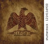 logo of the roman eagle on an...   Shutterstock . vector #1214116933