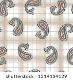 all over paisley pattern on...   Shutterstock .eps vector #1214134129