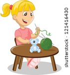 the girl is engaged in... | Shutterstock .eps vector #121416430