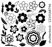 spring flowers are black and... | Shutterstock .eps vector #1214168746
