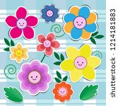 set of cute flowers | Shutterstock .eps vector #1214181883