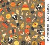 christmas seamless vector... | Shutterstock .eps vector #1214183503