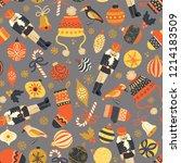 seamless vintage christmas... | Shutterstock .eps vector #1214183509