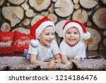 two brother boys in christmas...   Shutterstock . vector #1214186476