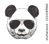 portrait of panda with glasses  ... | Shutterstock .eps vector #1214189860