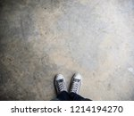 top view of white sneakers... | Shutterstock . vector #1214194270