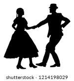 hungarian folk dancers couple... | Shutterstock .eps vector #1214198029