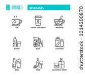 line icons about beverages. | Shutterstock .eps vector #1214200870
