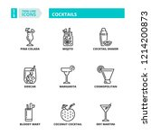 line icons about drinks.... | Shutterstock .eps vector #1214200873