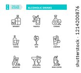 line icons about alcoholic... | Shutterstock .eps vector #1214200876
