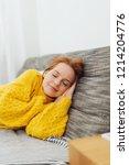 attractive redhead woman taking ...   Shutterstock . vector #1214204776