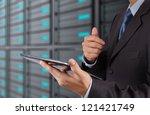businessman hand using tablet... | Shutterstock . vector #121421749