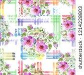 watercolor ornamet of pink... | Shutterstock . vector #1214228803