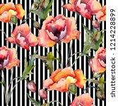 watercolor red bouquet of poppy ... | Shutterstock . vector #1214228899