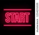 start lettering neon on a dark...   Shutterstock .eps vector #1214231020