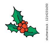 doodle color christmas icon.... | Shutterstock .eps vector #1214231650