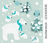 winter background with bears | Shutterstock .eps vector #121424530