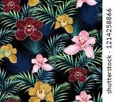 seamless pattern  pink burgundy ... | Shutterstock .eps vector #1214258866