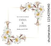 botanical wedding invitation...   Shutterstock .eps vector #1214259040