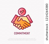 commitment thin line icon ... | Shutterstock .eps vector #1214264380