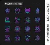 cyber technology thin line... | Shutterstock .eps vector #1214266753