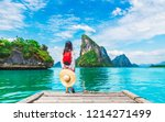 adventure traveler young woman... | Shutterstock . vector #1214271499
