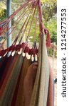 detail of colourful hammock. | Shutterstock . vector #1214277553