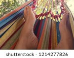 detail of colourful hammock. | Shutterstock . vector #1214277826