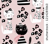 Stock vector creative kids seamless pattern with cute kitten vector baby design for fashion apparels fabric 1214285863
