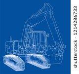 excavator concept outline....   Shutterstock .eps vector #1214286733
