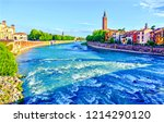 city river flow panorama. river ... | Shutterstock . vector #1214290120