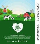 vector milk illustration with... | Shutterstock .eps vector #1214297650