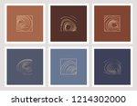 set of golden elegant minimal... | Shutterstock .eps vector #1214302000
