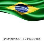 brazil flag of silk and white... | Shutterstock . vector #1214302486