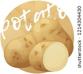 whole and half potato vegetable.... | Shutterstock .eps vector #1214304430