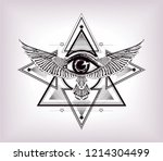 sacred geometry with egypt... | Shutterstock .eps vector #1214304499