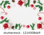 christmas decorations with gift ... | Shutterstock . vector #1214308669