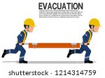 two workers is moving  the... | Shutterstock .eps vector #1214314759