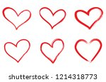 hearts vector set. hand drawn... | Shutterstock .eps vector #1214318773