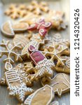 painted traditional christmas... | Shutterstock . vector #1214320426