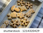painted traditional christmas... | Shutterstock . vector #1214320429