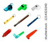 whistle vector sport blowing... | Shutterstock .eps vector #1214323240